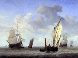 Vessels in a Breeze, c.1655 by Willem van de Velde | Painting Reproduction