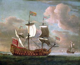 The British Man-o'-War 'The Royal James' Flying the Royal Ensign off a Coast, undated by Willem van de Velde | Painting Reproduction