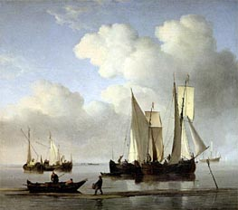 A Wijdship, a Keep and Other Shipping in Calm, undated by Willem van de Velde | Painting Reproduction