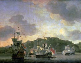 A Naval Engagement, 1659 by Willem van de Velde | Painting Reproduction