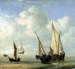Calm Sea, c.1650 by Willem van de Velde | Painting Reproduction