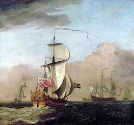 The Second Duke of Albemarle's Ketch with a Yacht to the Left and Three Warships in the Distance to the Right, undated von Willem van de Velde | Gemälde-Reproduktion