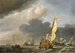 A States Yacht in a Fresh Breeze Running Towards a Group of Dutch Ships, 1673 by Willem van de Velde | Painting Reproduction