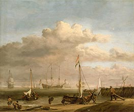 The Dutch coast with a weyschuit being launched and another vessel pushing off from the shore, c.1690 by Willem van de Velde | Painting Reproduction
