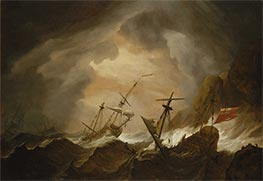Two English Ships Wrecked in a Storm on a Rocky Coast, c.1700 by Willem van de Velde | Painting Reproduction