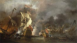 An English Ship in Action with Barbary Vessels, 1678 by Willem van de Velde | Painting Reproduction