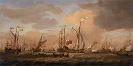 The Mary, Yacht, Arriving with Princess Mary at Gravesend in a Fresh Breeze, 12 February 1689, c.1689 by Willem van de Velde | Painting Reproduction