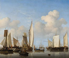 Ships in the Roads, c.1658 by Willem van de Velde | Painting Reproduction