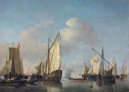 A States Yacht and other Vessels in a Very Light Air, Undated by Willem van de Velde | Painting Reproduction