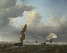 A Dutch Ship and Other Small Vessels in a Strong Breeze | Willem van de Velde | Painting Reproduction