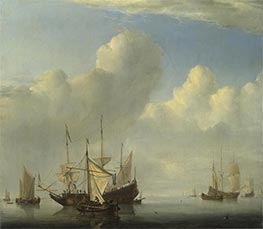 Calm - A Dutch Ship coming to Anchor and Another under Sail, 1657 by Willem van de Velde | Painting Reproduction