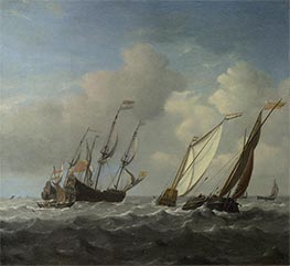 A Dutch Ship, a Yacht and Smaller Vessels in a Breeze, c.1660 by Willem van de Velde | Painting Reproduction