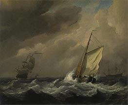 A Small Dutch Vessel close-hauled in a Strong Breeze, c.1672 by Willem van de Velde | Painting Reproduction