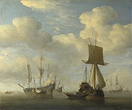 An English Vessel and Dutch Ships Becalmed, c.1660 by Willem van de Velde | Painting Reproduction