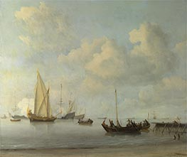 Boats pulling out to a Yacht in a Calm, c.1665 by Willem van de Velde | Painting Reproduction
