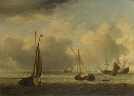 Dutch Ships and Small Vessels Offshore in a Breeze, c.1660 by Willem van de Velde | Painting Reproduction