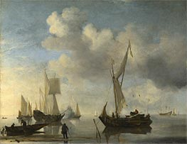 Dutch Vessels lying Inshore in a Calm, one Saluting, c.1660 by Willem van de Velde | Painting Reproduction