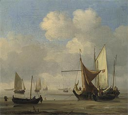 Small Dutch Vessels Aground at Low Water in a Calm, c.1660 by Willem van de Velde | Painting Reproduction