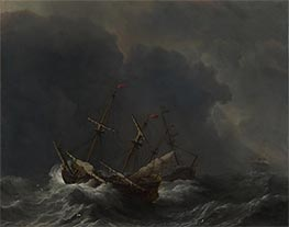 Three Ships in a Gale, 1673 by Willem van de Velde | Painting Reproduction