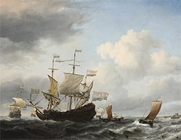 A Dutch Flagship Coming to Anchor, 1672 by Willem van de Velde | Painting Reproduction