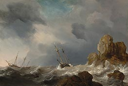 Ships in a Gale, 1660 by Willem van de Velde | Painting Reproduction