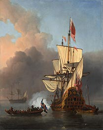 An English Warship Firing a Salute, 1673 by Willem van de Velde | Painting Reproduction