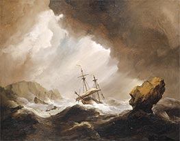 An English Ship Running onto a Rocky Coast in a Gale, c.1690 by Willem van de Velde | Painting Reproduction