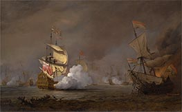 Sea Battle of the Anglo-Dutch Wars, c.1700 by Willem van de Velde | Painting Reproduction