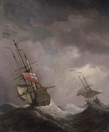 An English Ship at Sea Running In a Gale, c.1700 by Willem van de Velde | Painting Reproduction