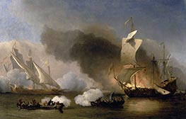An Action between English Ships and Barbary Corsairs, c.1695 by Willem van de Velde | Painting Reproduction