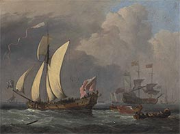 An English Royal Yacht, c.1675 by Willem van de Velde | Painting Reproduction