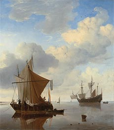 A Calm - A Smalschip and a Kaag at Anchor, c.1675 by Willem van de Velde | Painting Reproduction