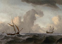 An English Galliot at Sea Running before a Strong Wind, c.1690 by Willem van de Velde | Painting Reproduction