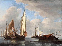 A Yacht and Other Vessels in a Calm | Willem van de Velde | Painting Reproduction