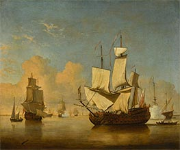 An English Man-of-War Coming to Anchor in a Light Air | Willem van de Velde | Painting Reproduction