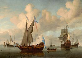 The English Royal Yacht Mary about to Fire a Salute | Willem van de Velde | Painting Reproduction
