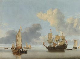 A Dutch Ship at Anchor Drying Sails and a Kaag under Sail | Willem van de Velde | Painting Reproduction