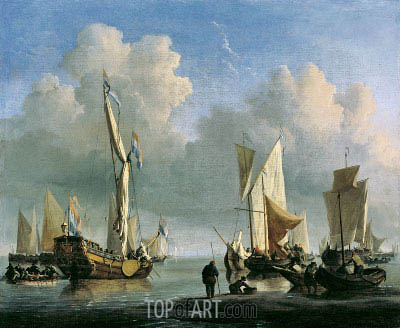 Ships off the Coast, 1672 | Willem van de Velde | Painting Reproduction