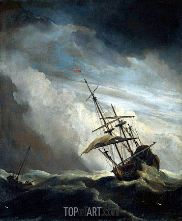 A Ship in High Seas Caught by a Squall, known as 'The Gust', c.1680 | Willem van de Velde | Gemälde Reproduktion