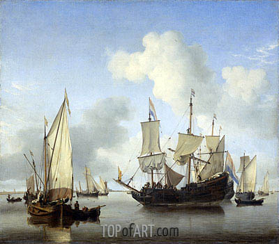 Ships under the Coast for Anchor, c.1650/07 | Willem van de Velde | Painting Reproduction