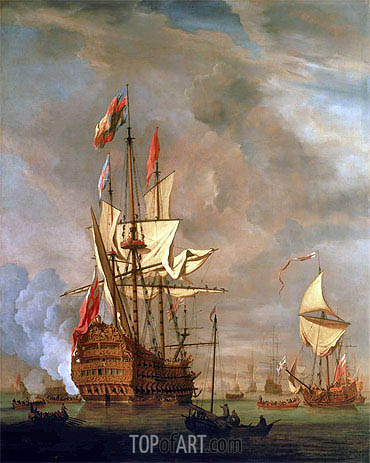 The English Ship 'Royal Sovereign' With a Royal Yacht in a Light Air, 1703 | Willem van de Velde | Painting Reproduction