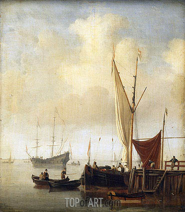 Harbor Scene, c.1650/07 | Willem van de Velde | Painting Reproduction