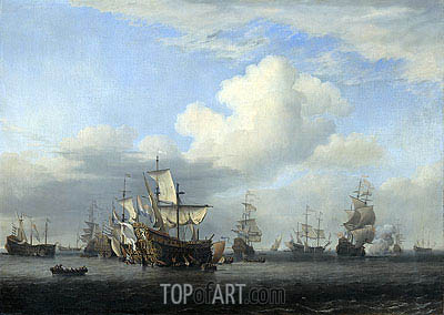 The conquerors take on board 'Swiftsure', 'Seven Oaks', 'Loyal George' and 'Convertine', 11-14 June 1666, c.1666/07 | Willem van de Velde | Painting Reproduction