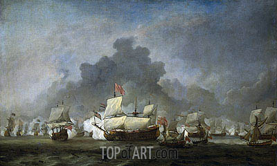 The Fight of Michiel Adriaensz the Ruyter against the duke of York on the 'Royal Prince', 7 June 1672, c.1672/07 | Willem van de Velde | Painting Reproduction