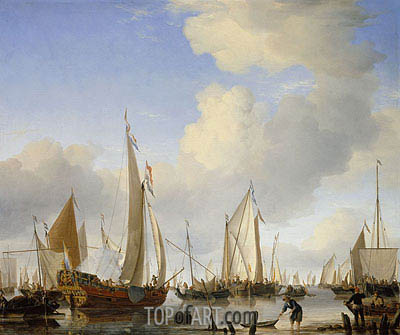 A Calm: A States Yacht Under Sail Close to the Shore, with Many Other Vessels, c.1655 | Willem van de Velde | Painting Reproduction