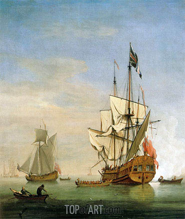 An English Sixth-Rate Ship Firing a Salute As a Barge Leaves, A Royal Yacht Nearby, 1706 | Willem van de Velde | Gemälde Reproduktion