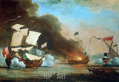 An English Ship in Action with Barbary Corsairs, 1685   Willem van de Velde   Painting Reproduction