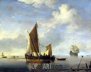 Calm: a Fishing Boat at Anchor, c.1660 | Willem van de Velde | Painting Reproduction