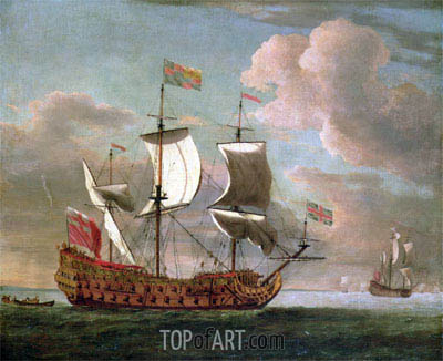 The British Man-o'-War 'The Royal James' Flying the Royal Ensign off a Coast, undated | Willem van de Velde | Painting Reproduction