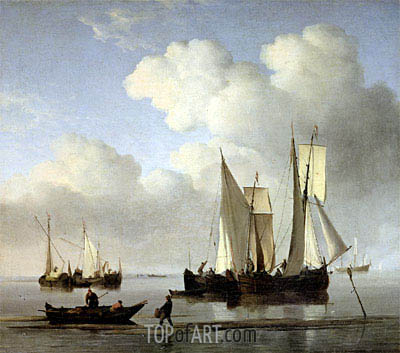A Wijdship, a Keep and Other Shipping in Calm, undated | Willem van de Velde | Painting Reproduction